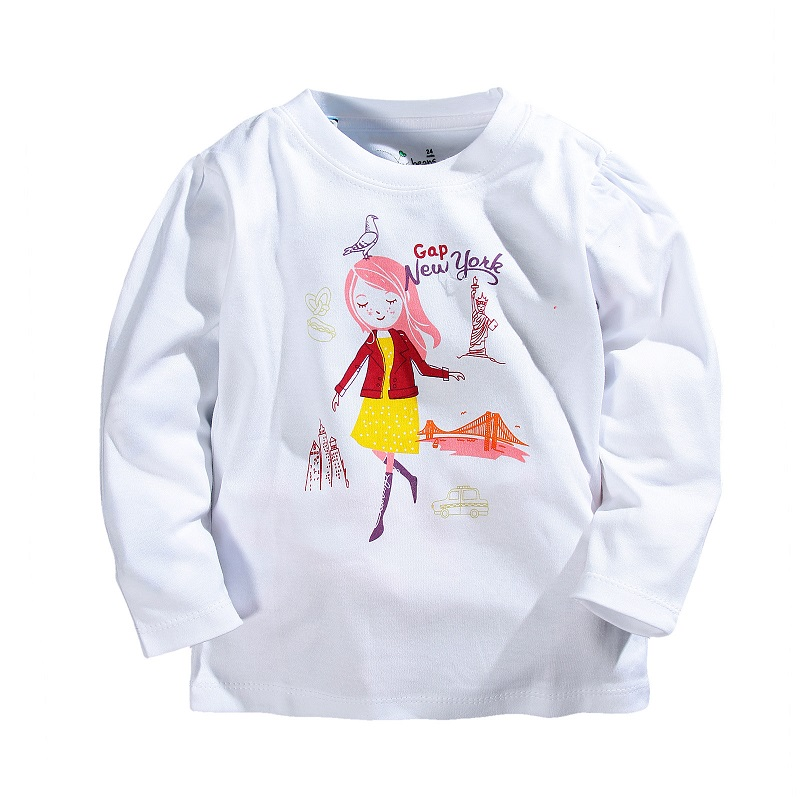 Spring Summer Girls T-shirts Brand Cartoon Long-sleeve T shirts For Girls 1-5 Years Kids Baby Girls Tops Children Cotton Tees