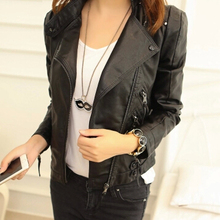2016 Fashion Women's Slim Fit PU Leather Jacket Stand collar Woman's Motorcycle Outwear Women Jackaets And Coats