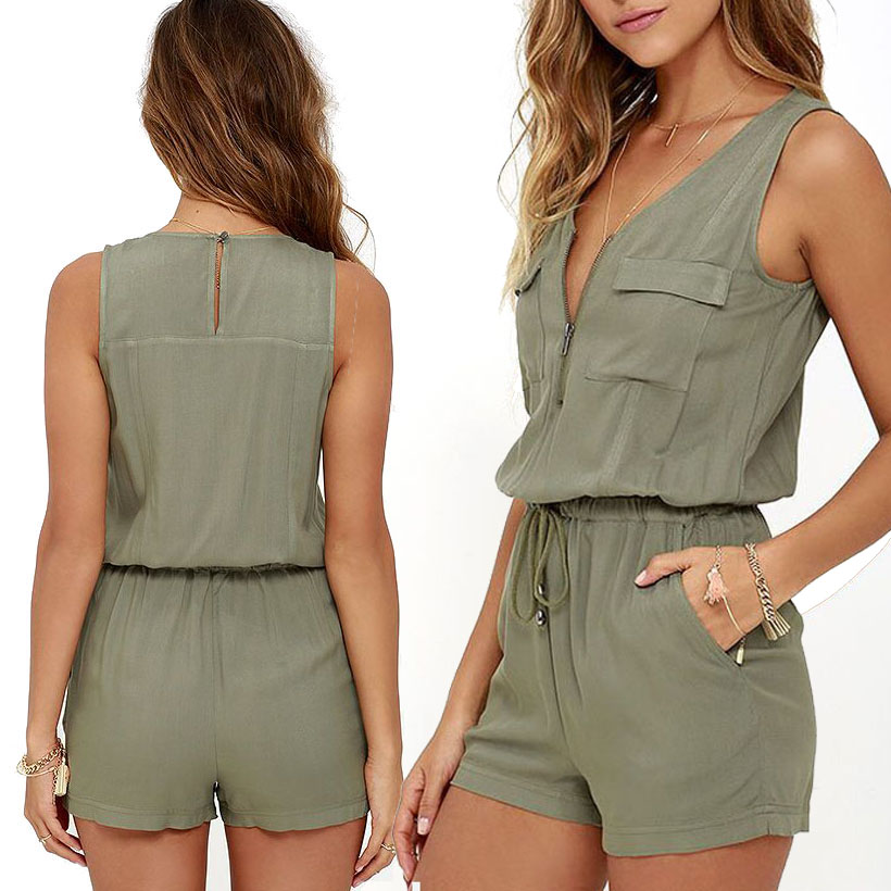 Sexy Sleeveless   jumpsuit   shorts romper women summer zipper pockets sashes   jumpsuit   lady Fashion beach coveralls female frock