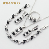 Black White Cubic Zirconia Silver Color Jewelry Sets For Women 4PCS Bracelets Necklace Pendant Earrings Rings