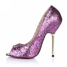 d6e8578a2 Sapatos de Casamento de prata Das Senhoras Das Mulheres Sapatos Com Saltos  Peep Toe Sapatos de