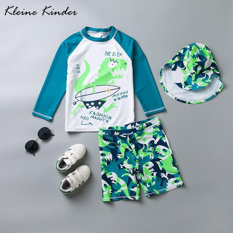 2019 New Boys Swimsuit Green Dinosaur 3-piece Long Sleeve Boy's Swimwear Children Bathing Suit UPF50+ Anti-UV Sunblock Beachwear