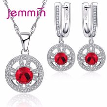 Round Red Crystal 925 Silver Necklace Earrings Jewelry Sets For Women Wedding Engagement Bijoux Rhinstone Jewellery Set(China)