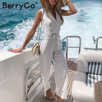 BerryGo women rompers Elegant jumpsuit double breasted plus size jumpsuit Summer sashes striped jumpsuits wide leg overalls