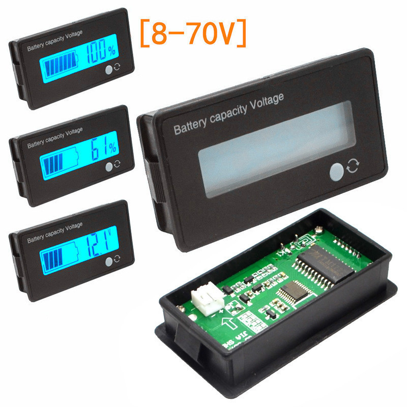 8-70V Blue LCD Acid Lead Lithium Battery Capacity Indicator Digital Voltmeter Direct Current Voltage Tester JS-C31H 2016 new lithium battery battery capacity indicator lcd digital percentage residual capacity display