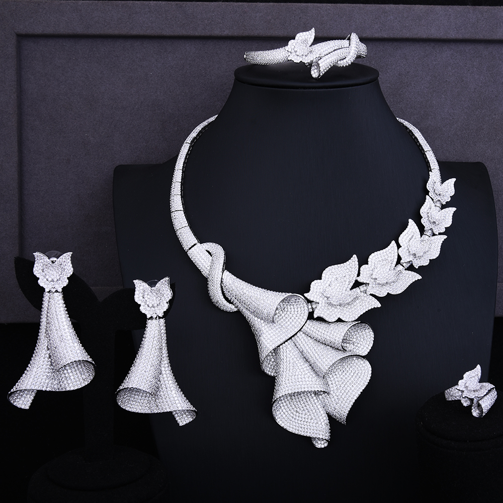 GODKI papillon mouche exclusif Super luxe fleur femmes mariage cubique zircone Lariat collier boucle d'oreille bracelet anneau bijoux ensemble