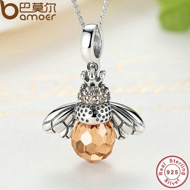 BAMOER 925 Sterling Silver Lovely Orange Bee Animal Pendants Necklace for Women Fine Jewelry CC035 4