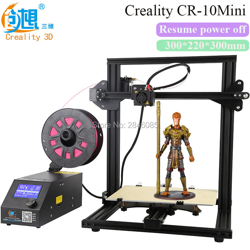 Resume after power off 3D Printer DIY Kit CREALITY 3D Printer CR-10 Mini Large Print Size 300*220*300mm high precision Printing metal frame linear guide rail for xzy axix high quality precision prusa i3 plus creality 3d cr 10 400 400 3d printer diy kit