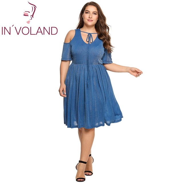 IN VOLAND Women Lace-up Dress Plus Size Summer Sexy V-Neck Cold Shoulder  Casual Shimmer Pleated Feminino Party Dresses Full Size cd02521a458e