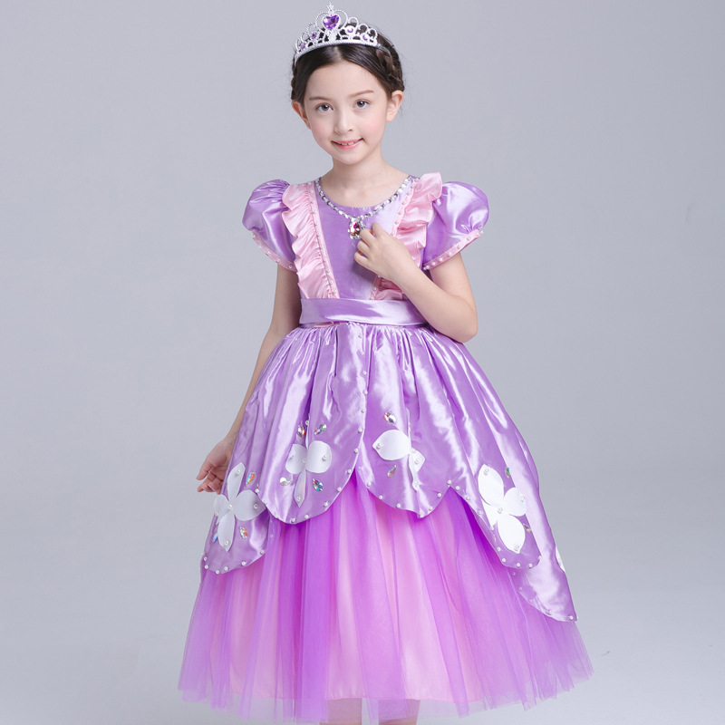 Tulle Girls Cosplay Belle Princess Dress Costume Children Masquerade Ball Gowns For Kids New Years Birthday Party Tutu Vestido baby girls dress 2016 brand new girls princess dress children s birthday party sequined dress pink tutu kids free shipping