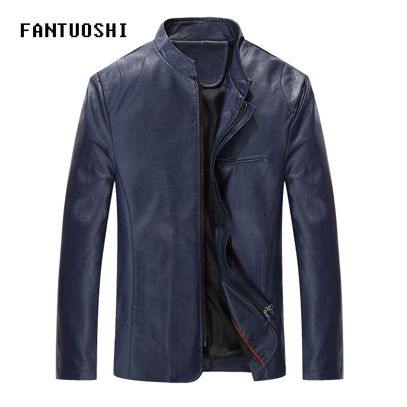 2019 Autumn New Men Leather Jackets Men Stand Collar Coats Male Motorcycle Leather Jacket Casual Slim Solid PU Leathe Coat Blue