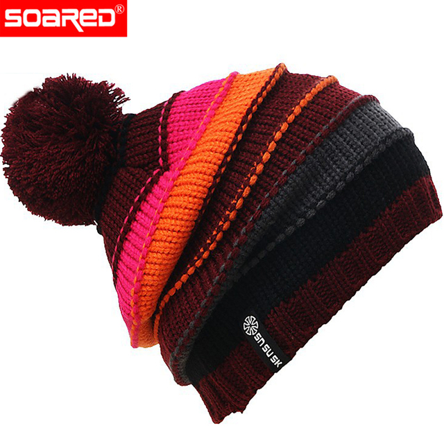 88a13d245 Quality Brand Man/Woman Winter Snow Warm Double Knit Wool Hat Cashmere  Lining Woolly Hat Windproof Stocking Cap Ski Helmet Gorro-in Ski Helmets  from ...