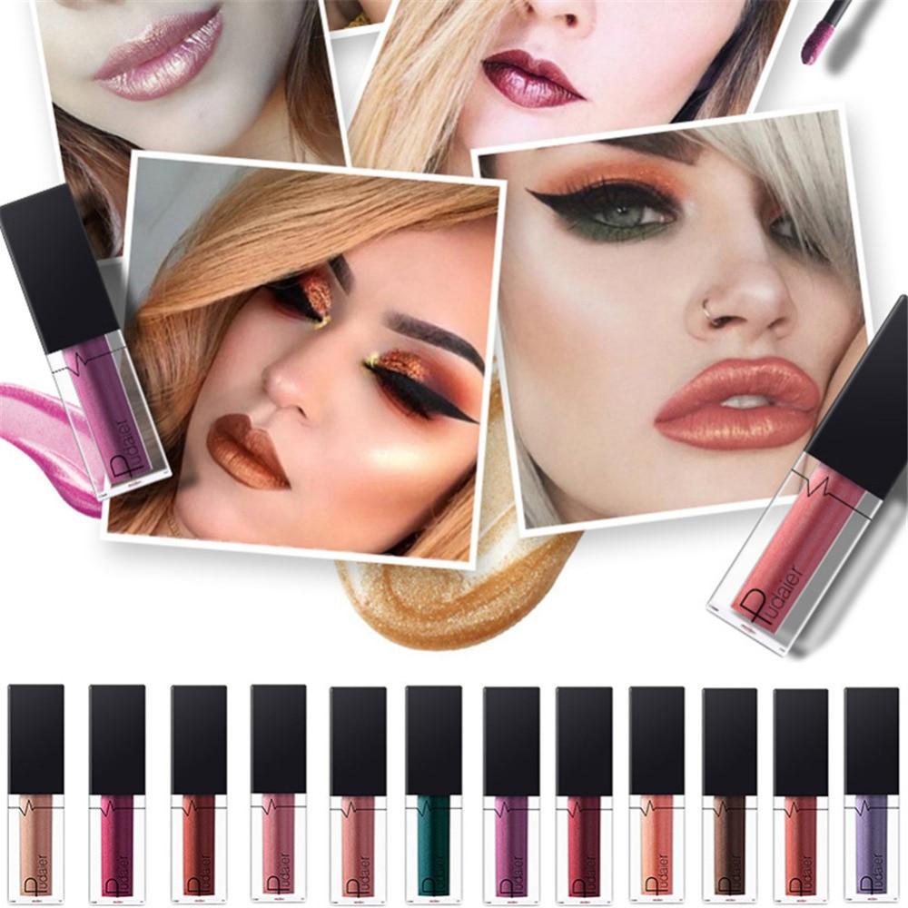 Waterproof Long Lasting Glitter Metallic Lipstick Liquid Lip Gloss Tint Cosmetics Moisturizer Shimmer Lipgloss Matte Batom