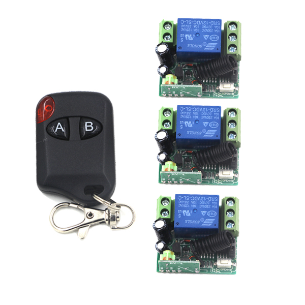 12V 1CH 3 Receiver & 1 Transmitter Wireless remote control switch Working way is adjustable 200M for garage door /lamp 4195 receiver & transmitter ac220v 1ch wireless remote control lighting switch system working way adjustable 315 433 92mhz