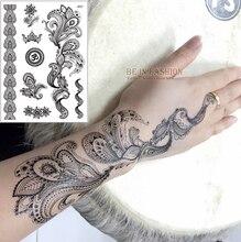 1sheet Black White Henna Taty Fake Lace Tattoo Stickers Metallic Temporary Flash Tattoos Arabic Trendy Tattoo Tattoos J021B