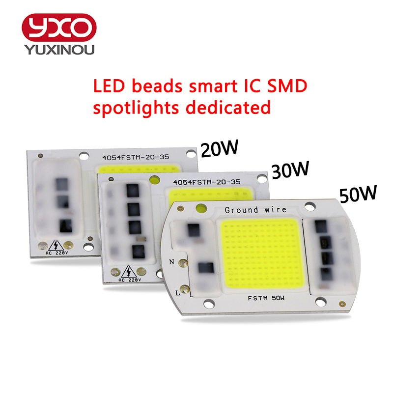 Светодиодная лампа COB, чип 20 Вт 30 Вт 50 Вт, светодиодная лампа 230 В, вход IP65, умный IC, подходит для DIY проекта, светодиодный уличный прожектор, холодный белый, теплый белый 50w led chip smart icled cob bulb   АлиЭкспресс