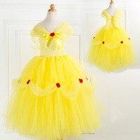Хеллоуин костюм дети желтый аппликация цветок день рождения сюрпризов Платья для вечеринок для Обувь для девочек Детская пачка Pageant платья ...