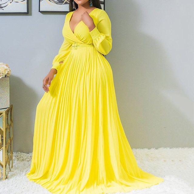 Yellow Sexy Lantern Sleeve Plus Size Office Ladies Women Long Dresses Pleated Plain Dinner Party Vintage Female 2019 Maxi Dress