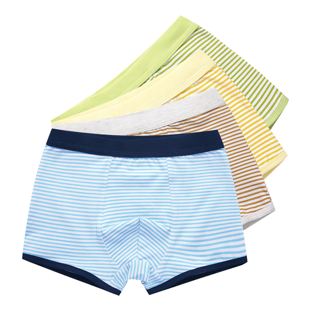 4-Pack Organic Cotton Kids Boxers for Boys Shorts Panties Children Underwear Boy Stripes Children's Teenager Underpant 2-16T 2