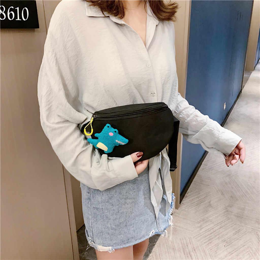 2019 レディースウエストバッグファニーパック恐竜漫画のためのベルト財布スモール財布電話キーポーチ女性クラッチ胸バッグ