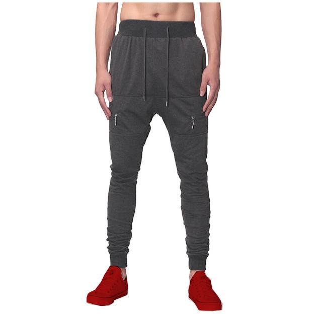 2017 Marca de Moda Mens Sweatpants Harem Pants Casual Bolsos Com Zíper Plus Size Calças Skinny Cintura Elástica Confortável