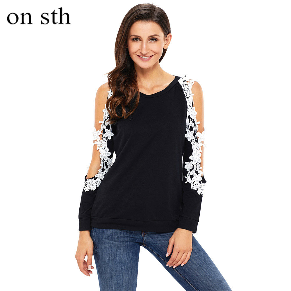 Womens Off Shoulder Tops Long Sleeve Shirt Casual Howllow Out Lace Shirt Plus Size Patchwork Women Shirts for Work Office Lady