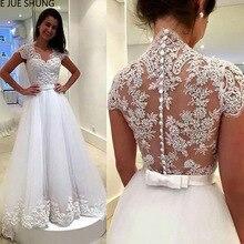 LAYOUT NICEB SHJ318 White Wedding Dress 2019 Short Sleeves