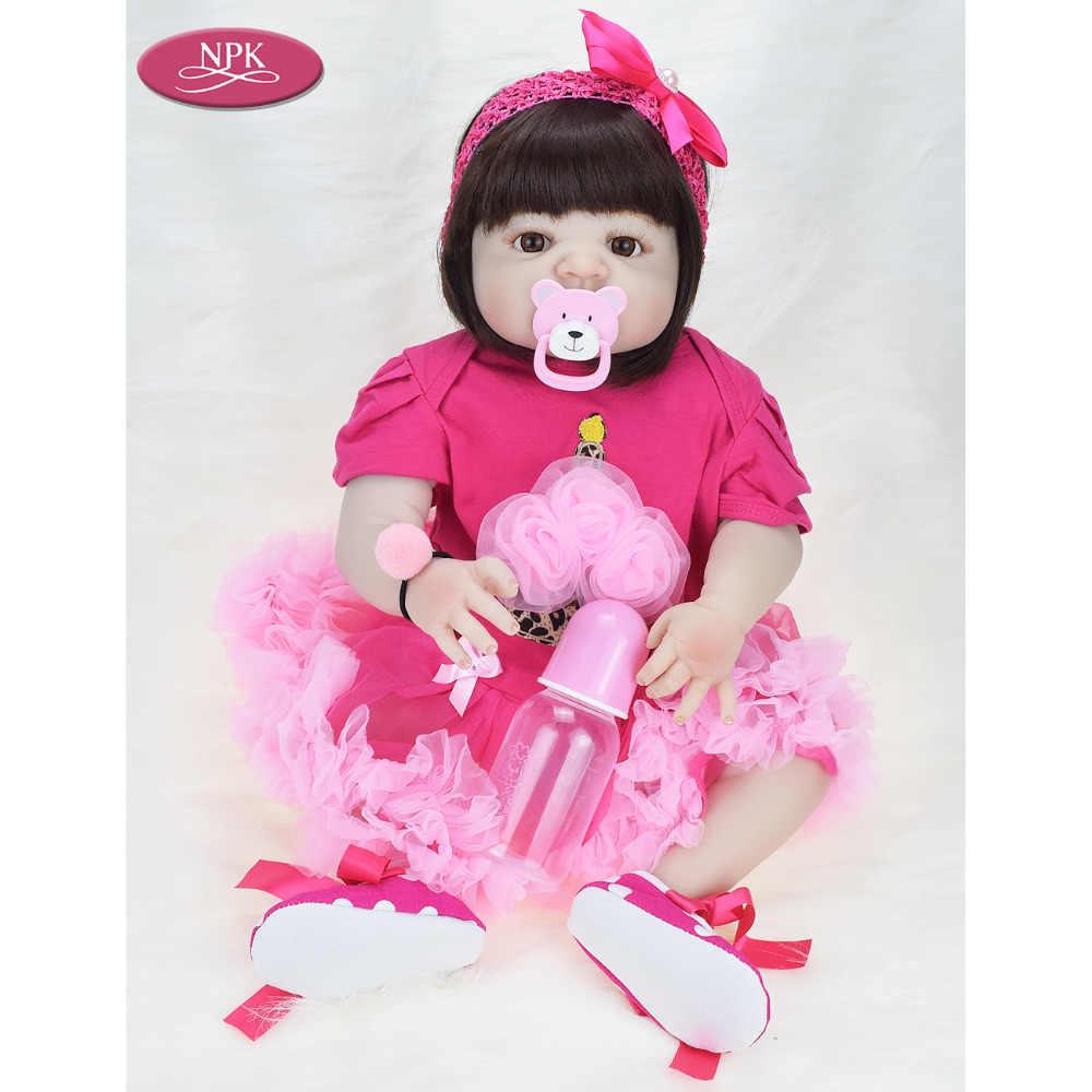 NPK 57 см полное тело Мягкие силиконовые девочки Reborn Baby Doll Bathe игрушки Реалистичные кукла принцесса для девочек Bebe реальное возрождение Boneca Menina