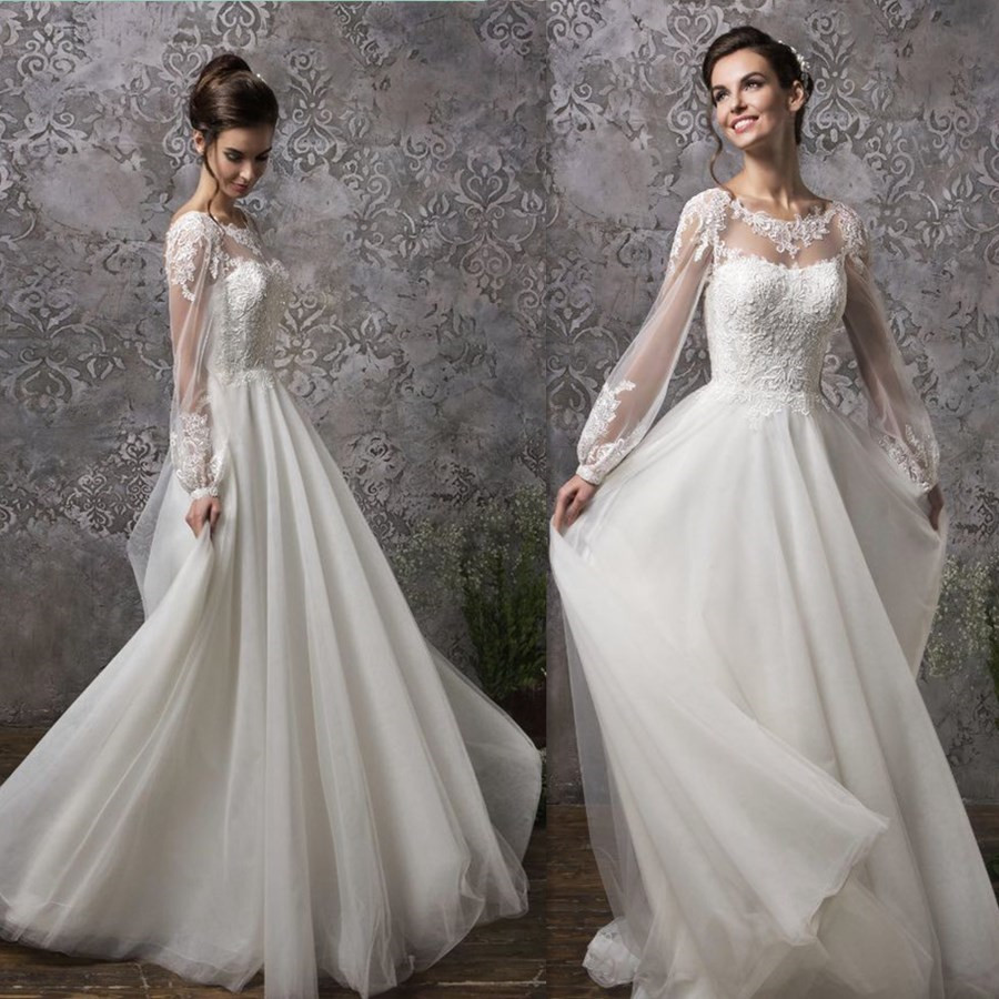 Soft Tulle Lace Applique Illusion Long Sleeves Scoop Neckline A-line Wedding Dress With Button Backless Vestido De Noche