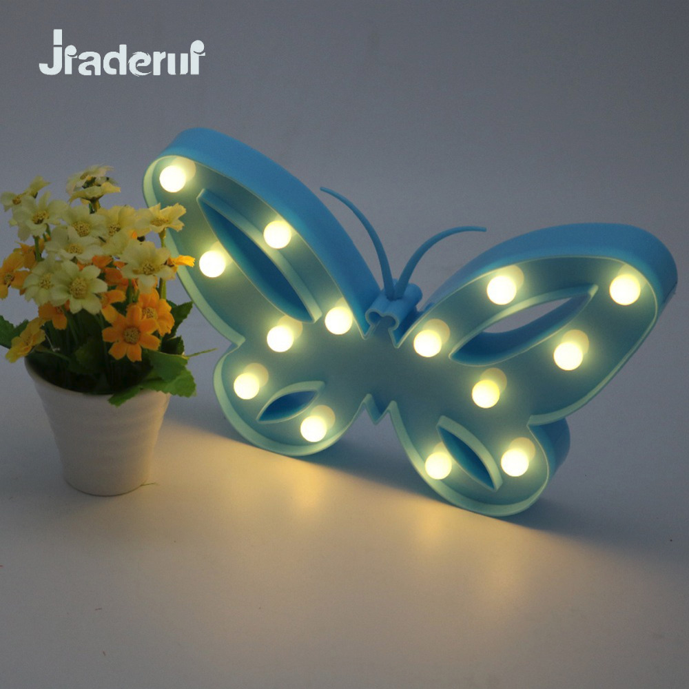 Jiaderui Led Baby Nightlight 3D Marquee Butterfly Table Wall Lamp Kids Children Christmas Gift Wedding Party Room Decoration creative led 3d nightlight hockey for kid boy gift wall decoration holiday party hockey lighting iy303166 5