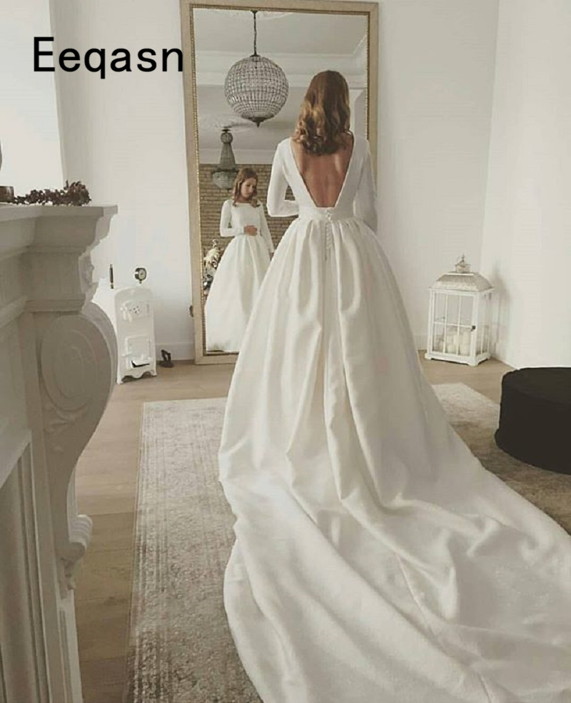 Elegant Long Sleeves Wedding Dresses 2019 Cathedral Train Backless Ivory Satin Wedding Gown Bride robe mariage Plus Size Платье