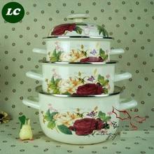 FREE SHIPPING casserole set cooking enamel pot set  ceramic cookware set 20cm 22cm 24cm enameled-cookware-set *
