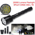 High Quality   20000 Lumens 8x  XML T6 5 Mode 18650 Super Bright LED Flashlight