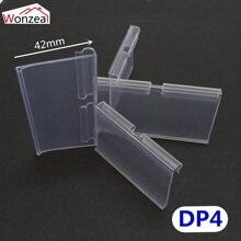 100 pz/lotto IN PVC Trasparente di Plastica Prezzo Tag Segno Etichetta di Visualizzazione Titolare Ispessimento Per Scaffale del Negozio Gancio Rack o Supermercato