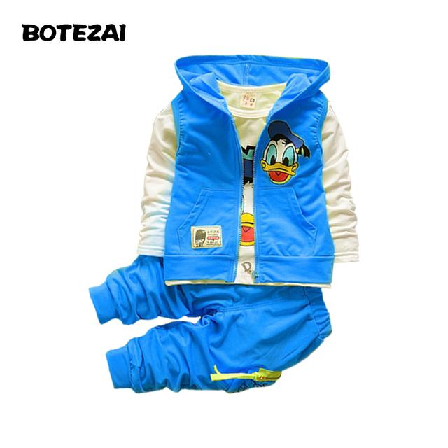 2015 Nueva Otoño muchachos de los niños niñas juegos de ropa de bebé niños de dibujos animados escudo chaqueta camiseta pantalones ropa Donald Duck conjunto