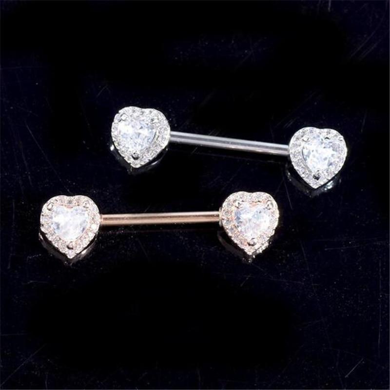 2pcs stainless steel nipple piercing rings for women Heart White Crystal nipple piercing bar stud women body piercing jewelry