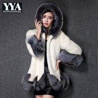 2019 Faux Fox Fur Coat Women White Black Hooded Faux Mink Fur Jacket Luxury Ladies Winter Fashion Long Coat Large Size Clothes
