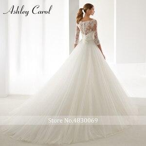 Image 2 - Ashley Carol A Line Wedding Dress 2020 Fashion Scoop Half Sleeve Illusion Court Train Bride Dress Romantic Simple Bridal Gowns