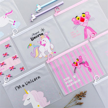 Organizer File-Folder Unicorn Pencil-Case Cute Cartoon Waterproof PVC Box Document-Bag