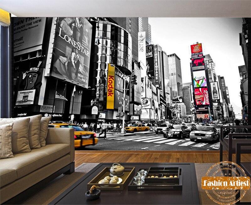 custom 3d black white wallpaper mural new york modern city times square tv sofa bedroom living room cafe restaurant background - The Living Room Cafe