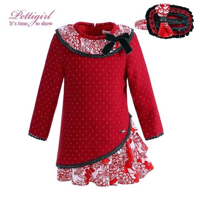 Pettigirl Wholesale New Year Red Baby Girl Dress Wtih Handmade Headwear  Princess Dresses Boutique Kids Clothes Outwear Wholesale b82e41076d42