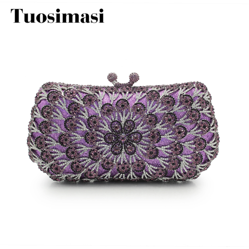 Women Luxury Crystal Clutches Lady Designer Flower Pattern Evening Bags Wedding Party Purses Purple women Handbag(88197A-BR) luxury crystal clutch handbag women evening bag wedding party purses banquet
