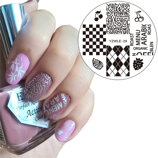 Yzwle 2017 New Nail Beauty Stamping Plates Lattice Letters Designs