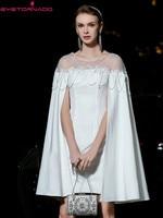 Вечерние платья с цветочной вышивкой, украшенные бисером, с рукавом накидкой, облегающие вечерние белые платья, летнее элегантное Сетчатое