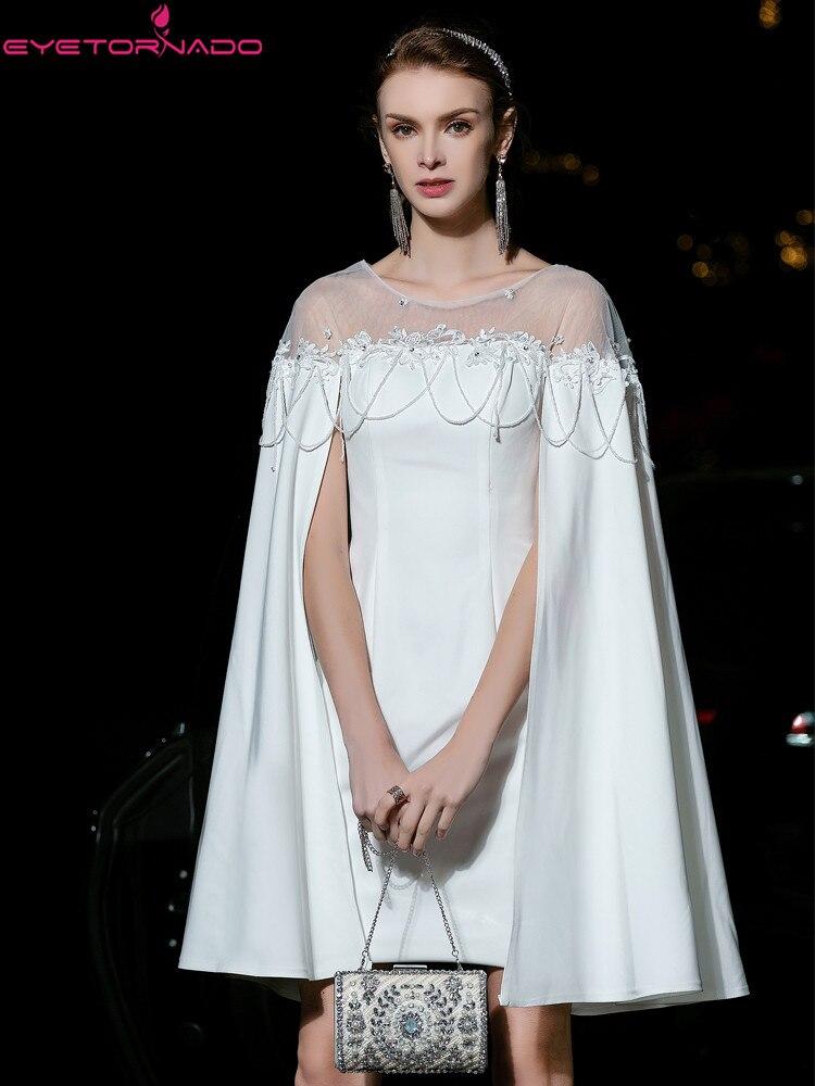 Gemmes perles fleur broderie robe de soirée cape manches moulante soirée robes blanches été maille Patchwork robe élégante