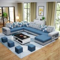 Гостиная диван набор мебель для дома Современная хлопковая ткань; Массивная древесина рама мягкая губка u образный заказ OEM мебельный гарни