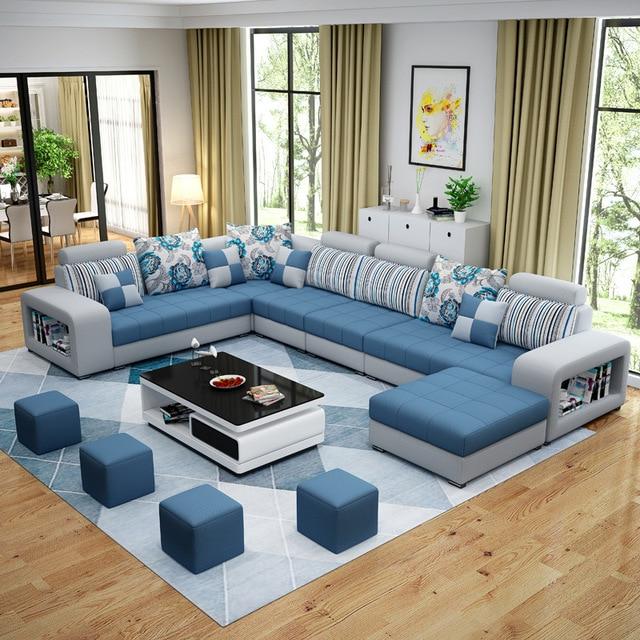 Tecido de Algodão Sofá Da Sala Conjunto de Móveis Para Casa Moderna em Madeira Maciça de Quadros Esponja Macia U Forma Personalizada OEM Móveis Para Casa conjunto