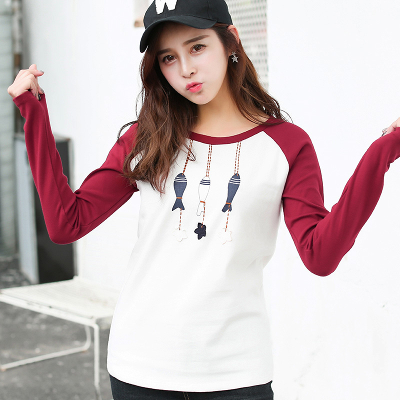 Casual Autumn Women T-Shirts Long Sleeve O-Neck Cartoon Patchwork Fashion New Style