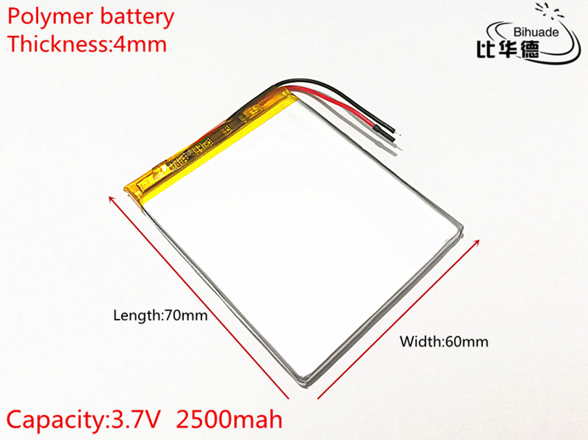 3.7V 2500mAh <font><b>406070</b></font> Lithium Polymer Li-Po li ion Rechargeable Battery cells For Mp3 MP4 MP5 image