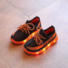2017 New Fashion Children Sport Running Shoes Spring Summer Breathable Mesh Girls Boys Sneakers LED Lighted